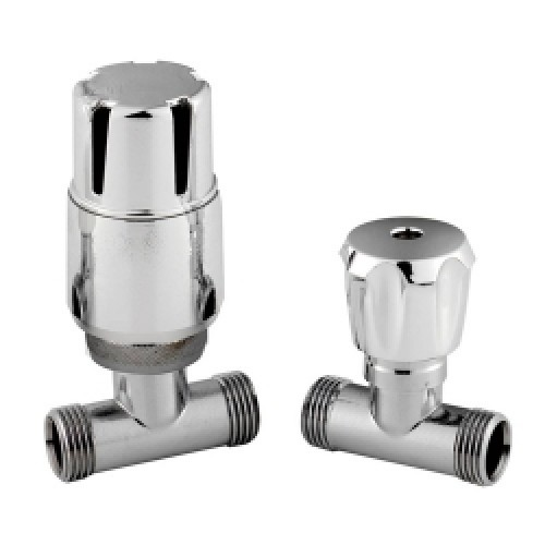 Modern  Straight Thermostatic Radiator Valves Pair in Chrome