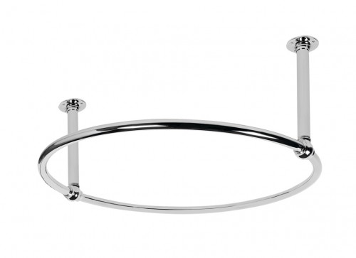 Circular Shower Curtain Rail 2 Ceiling Supports Polished Nickel