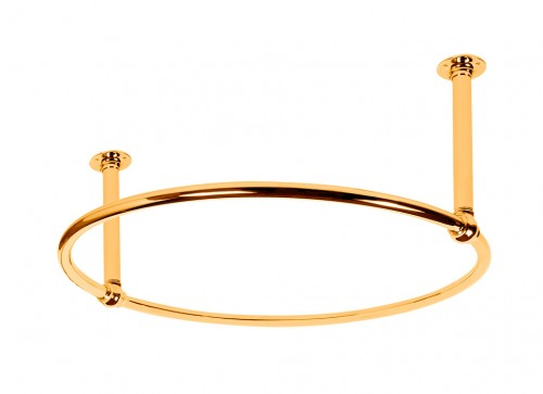 Circular Shower Curtain Rail with 2 Ceiling Fixing in polished Brass