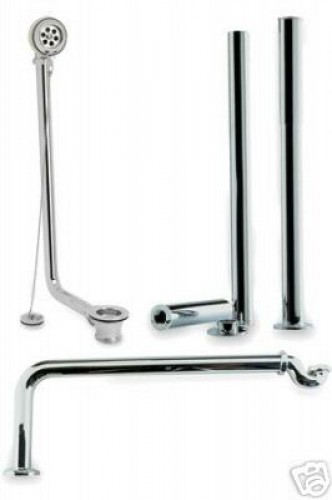 Modern Roll Top Bath Pack in Chrome Plated Brass.