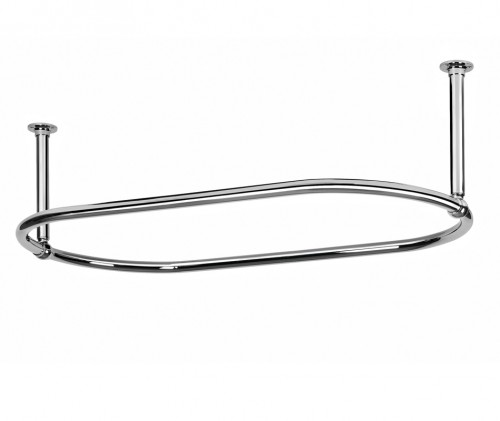 Oval Shower Curtain Rail with 2 End Ceiling Fixings in High Quality Chrome Plated Brass