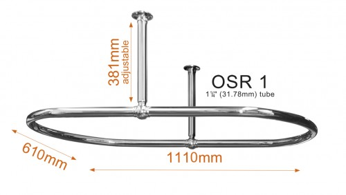 Oval Shower Curtain Rail with Ceiling Fixing in polished Brass