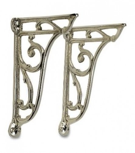 Pair Cast metal cistern or basin brackets -Gold plated