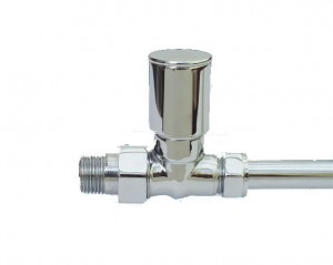 Minimal Straight Radiator Valves Pair in Chrome
