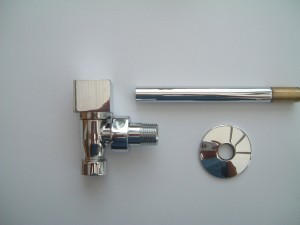 Modern  Square Head Angled Radiator Valves Pair in Chrome