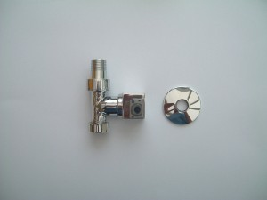 Modern  Square Head Straight Radiator Valves Pair in Chrome