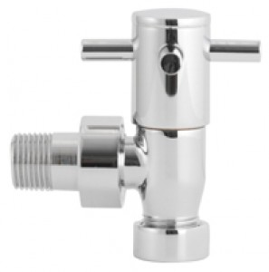 Modern  X Head Angled Radiator Valves Pair in Chrome