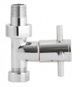 Modern  X Head Straight Radiator Valves Pair in Chrome