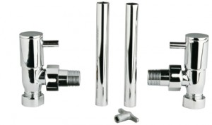 Modern Angled Radiator Valves Pair in Chrome