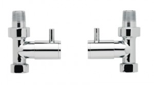 Modern Straight Radiator Valves Pair in Chrome