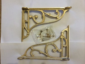 Cast metal cistern or basin brackets Gold plated