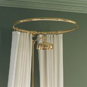 Circular Shower Curtain Rail wall fixing in polished brass/Gold Colour