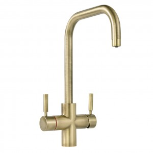 Geyser 3 in 1 Brushed Gold Instant Hot Water Tap U Spout