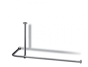 L Shaped Shower Curtain Rail with Ceiling Fixing in Nickel Plated Brass