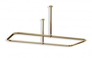 Large Rectangular Shower Curtain Rail Centre Fixings in Polished Brass