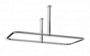 Large Rectangular Shower Curtain Rail Centre Fixings in Polished Chrome