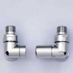 Modern Corner Radiator Valves Pair in Chrome