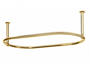 Oval Shower Curtain Rail End Ceiling Fixing in polished Brass