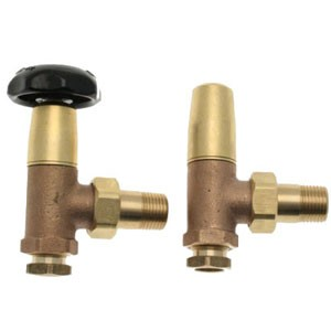 Pair Traditional Victorian Radiator Valves - Brass/Bronze