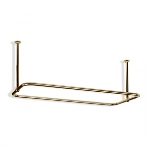 Rectangular Shower Curtain Rail End Fixings in Polished Brass
